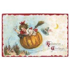 H-26 Frances Brundage 1914 Signed Halloween Postcard, Girl in Flying Pumpkin