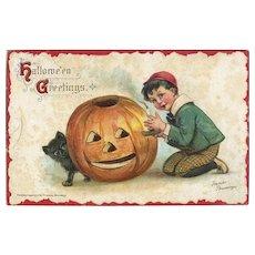 H-28  Frances Brundage Halloween Postcard, c. 1914 Boy, Cat, JOL