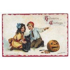 H-27  Frances Brundage Halloween Postcard, c.1914, Children, Cat, JOL