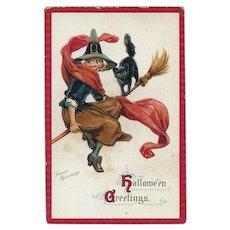 H-31 Frances Brundage Antique Halloween Postcard, Friendly Witch & Cat Broomride, Sam Gabriel Pub.