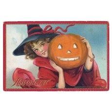 H-32 Frances Brundage Pretty Witch Antique Halloween Postcard, Raphael Tuck Pub.