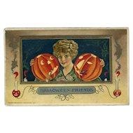 H-35 Winsch/Schmucker Lady, Cigar & Pipe Smoking JOL's Antique Halloween Postcard