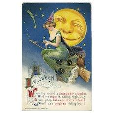 H-36 Winsch Schmucker Sexy Witch Sails the Stars, Leering Moon c.1911 Halloween Postcard