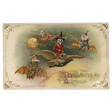 H-39 Winsch Not So Scary Witch Flies Owl Express, Goblins Charter Bat Flight, Antique Halloween Postcard MINTY