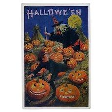 H-55 Bernhardt Wall Halloween Postcard, Witch Chases Boy in Pumpkin Field, Clean Unused