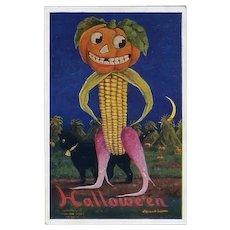 H-56 Bernhardt Wall, Grinning Pumpkin Head Veggie Man, Mint Antique Postcard