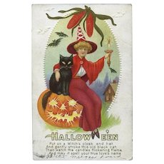 H-42 Postmarked Oct. 31, 1913 Halloween Postcard Lady Red Witch, JOL, Cat