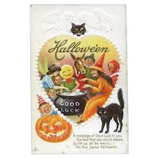H-43 Embossed Heart / Owls, Cat Watches Over Fairy, Witch, Donkey Goblins Halloween Party Antique Postcard