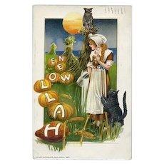 H-45 Winsch 1913 Antique Halloween Postcard, Pretty Lady, Cat, Pumpkins, Corn Stalks