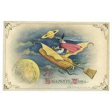 H-38 Winsch Antique Halloween Postcard, Witch Drives Corn Cob Hot Rod, Moon Faces Oh! MINTY