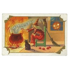 H-47 Antique Halloween Postcard, Taggart, Witch Stirs up Cauldron of Devils