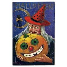 H-48 Bernhardt Wall / Ullman Halloween Postcard, Witch, Grinning JOL, Cat, Glitter