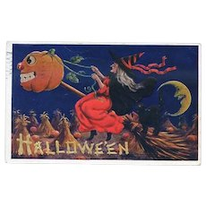 H-51 Halloween Postcard PM 1909, Witch, Cat on Pumpkin Broom, Int'l Art Pub.