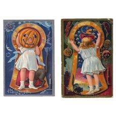 H-110 Little Girl Keyhole Series, c. 1909 Pr. Nash Antique Halloween Postcards