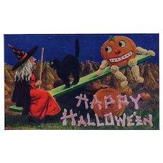 #67 Bernhardt Wall Antique Halloween Postcard, Witch, Cat, JOL Seesaw