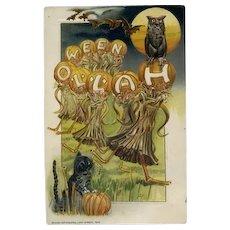 H-70 Winsch Halloween Postcard, Dancing Corn Sheaves, Bats, Owl, Cat