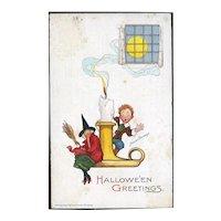 H-71 Frances Brundage Antique Halloween Postcard, Witch, Boy on Candlestick, Unused