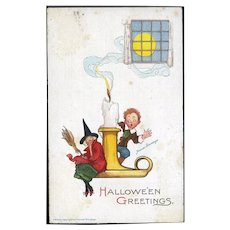 H-71 Frances Brundage Antique Halloween Postcard, Witch, Boy on Candlestick, Unused