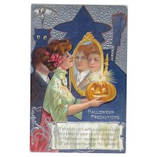 H-85 Antique Halloween Postcard, Shadow Witch & Cat, Woman, True Love in MIrror