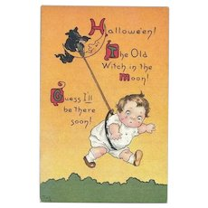 #40 - Antique Halloween Postcard, Witch Lasso's Scared Kid, Mary LaFetra Russell, Sam Gabriel Pub.