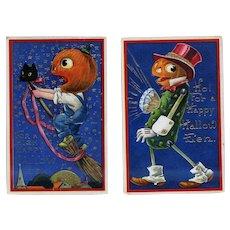 H-88 Barton Spooner, 2 Antique Gelatin Postcards, Colorful Pumpkin Characters