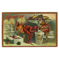 H10 - Devil, Gourd People Feasting, Raphael Tuck Halloween Postcard