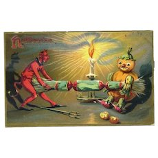 H-11 Devil, Gourd Man Halloween Postcard, R Tuck c. 1910