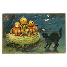 H-13 Black Cat, Gourd People c.1908 Halloween Postcard, R. Tuck Series 150