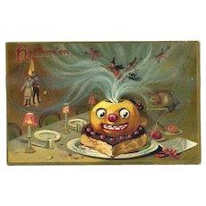 H-14 Witches, Kids, Jack-O-Lantern, Antique Halloween Postcard, R. Tuck Series 150
