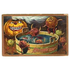 H-15  Jack-o-Lantern, Crazy Gourd People c.1917 Halloween Postcard, R. Tuck series 160