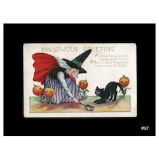 H-17 Whitney Halloween Postcard, Witch, Mouse, Cat, Pumpkin Stalks, Unused