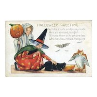 H-18 Child Ghost, Witch, Owl, Bat, Black Cat, Whitney Halloween Postcard