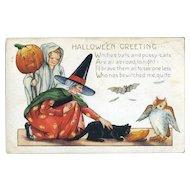 H-18 Child Ghost, Witch, Owl, Bat, Black Cat, Whitney Halloween Postcard