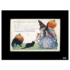H-19 Whitney Halloween Postcard c. 1920 Witch, Cats, Owl, Jack-O-Lanterns