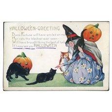 H-19 Whitney Halloween Postcard c. 1920 Witch, Cats, Owl, Jack-O-Lanterns