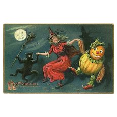 H-22 Witch, Black Cat, Gourd Goblin Happy Dance, Tuck Antique Halloween Postcard
