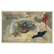 H-41 Antique Winsch Halloween Postcard, Mother Goose Type Witch, Goblins Ride Bats, MINTY Unused