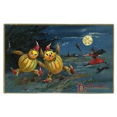 H-50 Antique Halloween Postcard, Witch Chases Gourd Goblins, Tuck Series 150