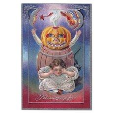 H-60 Antique Nash Halloween Postcard, Series 5 JOL Scares Girl