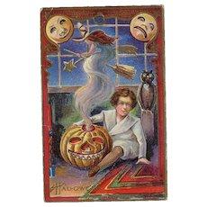 H-62 Nash Halloween Postcard Series 5 c. 1915 Boy, JOL, Witch