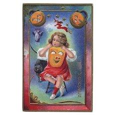 H-63 c. 1915 Antique Halloween Postcard, Nash Series 5, Girl, Black Cat, Witch JOL Masks
