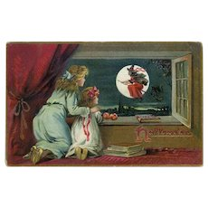 H-66 Tuck Halloween Postcard, PM 1912, Girls in Window See Flying Witch