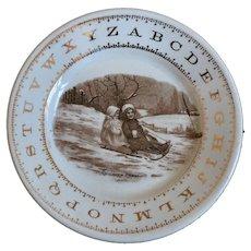 Victorian Child's ABC China Plate, Kids Sledding Snow Scene, Gold Trim