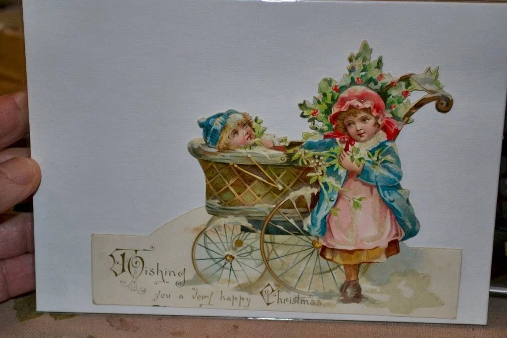 Victorian Die Cut Christmas Card, Boy in Baby Carriage, Girl, SOLD ...