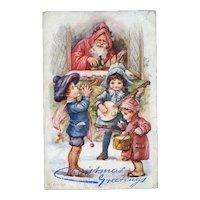 c. 1905 Raphael Tuck Santa & Children, A.L. Bowley Oilette Postcard