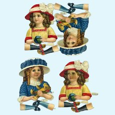 c.1910 Little Girls with Teddy Toys, Embossed L&B Die Cuts To Make Paper Dolls