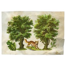 Fox and Trees, Early Victorian Scrap