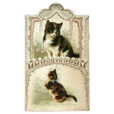 Cats on Folding Embossed Victorian Folding Die Cut New Years Card