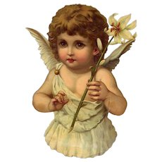 Large Cherub or Angel with Lily Victorian Die Cut