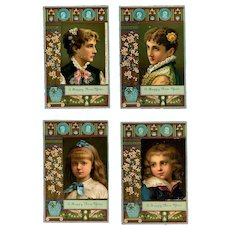 1881 Four Chromolitho Calendar Cards, Ladies, Children